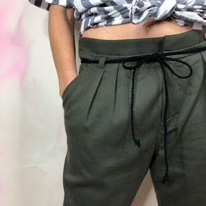 Joe's Jeans Harem Pleated Belted Pants Army Green